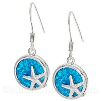 Sterling Silver Starfish Circle Dangle Earrings with Opal Inlay