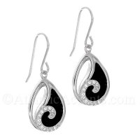 Sterling Silver Wave Dangle Earrings on Black Onyx Stone and Clear CZ