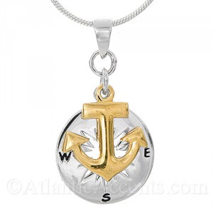 Sterling Silver Compass Rose with Gold Anchor Pendant