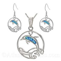 Sterling Silver Dolphin In Waves Circle Necklace and Earrings Set