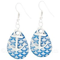 Anchor Charm on a Blue & Gray Scale Fishing Lure Dangle Earrings