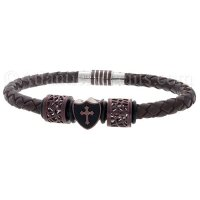 Mens Jewelry by AAGAARD Brown Leather Charm Bracelet / Bead Set - 23