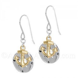 Sterling Silver Compass Rose with Gold Anchor Dangle Earrings