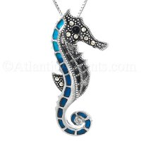 Sterling Silver Colorful Seahorse Pendant with Swiss Marcasite Crystal