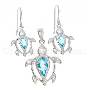 Sterling Silver Sea Turtle Necklace & Earrings Set with Blue Body