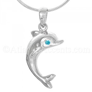 Sterling Silver Dolphin Pendant with Blue CZ Eyes