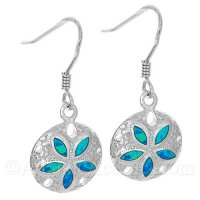 Sterling Silver Sand Dollar Dangle Earrings With Opal Inlay