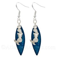 Mermaid Charm on a Blue Sparkle Long Fishing Lure Dangle Earrings