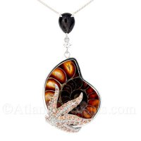 Sterling Silver Starfish Wrapped Around an Ammonite Fossil Necklace