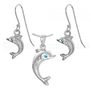Sterling Silver Dolphin with Blue CZ Eye Necklace and Earrings Set