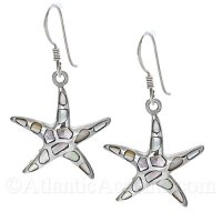 Sterling Silver Starfish Dangle Earrings with Mother of Pearl Inlay