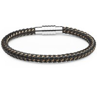 0710225 - Mens Jewelry by AAGAARD Brown Leather / Rose Nylon Bracelet