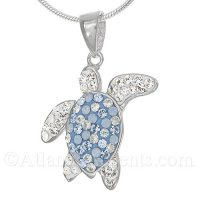 Sterling Silver Sea Turtle Pendant with Blue Swarovski Crystal Inlay