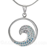 Sterling Silver Medium Wave Pendant with Graduated Blue Ombre Crystal