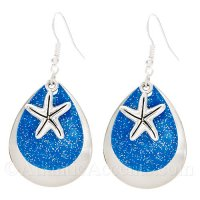 Starfish Charm on a Blue Sparkle & Chrome Fishing Lure Dangle Earrings