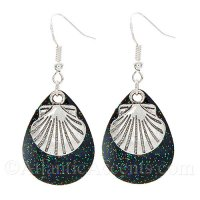 Scallop Shell Charm on a Black Sparkle Fishing Lure Dangle Earrings