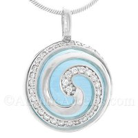 Sterling Silver Wave Swirl Pendant On Ocean Blue Cateye