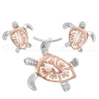 Sterling Silver Rose Gold Sea Turtle Necklace and Earrings Set