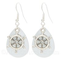 Ships Wheel Charm on a White Sparkle Fishing Lure Dangle Earrings