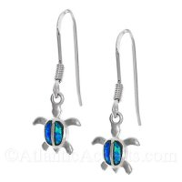 Sterling Silver Sea Turtle Dangle Earrings with Opal Inlay