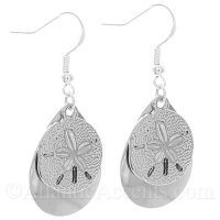 Sand Dollar Charm on a Chrome Fishing Lure Dangle Earrings