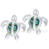 Sterling Silver Sea Turtle Post Earrings with Paua Shell Inlay