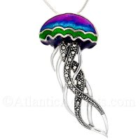 Sterling Silver Jelly Fish Necklace- Purple, Blue and Green Enamel