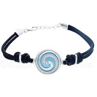 Sterling Silver Wave Swirl Bracelet On Ocean Blue Cateye