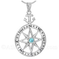 Sterling Silver Compass Rose Pendant with Anchor Bale and Blue CZ
