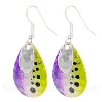 Chrome Lure on Hammered Purple & Yellow Fishing Lure Dangle Earrings