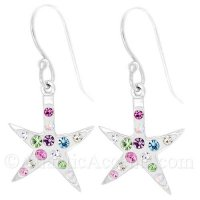 Sterling Silver Starfish Dangle Earrings with Multicolor Crystals