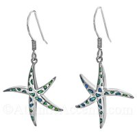 Sterling Silver Starfish Dangle Earrings with Opal Inlay