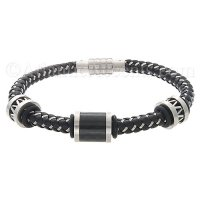 Mens Jewelry by AAGAARD Black & Steel Braided Bracelet / Link Set - 34