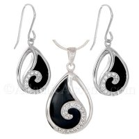 Sterling Silver Wave Necklace & Earrings Set on Black Onyx Stone w CZ