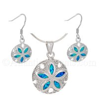Sterling Silver Sand Dollar Necklace and Earrings Set with Opal Inlay
