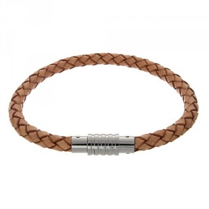 0710174 Mens Jewelry by AAGAARD Braided Natural Leather Bracelet