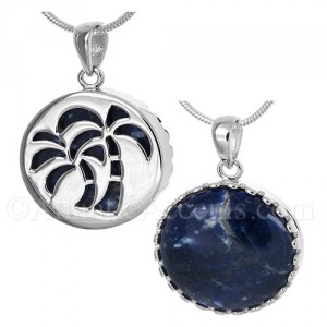Sterling Silver Palm Tree Pendant Cut Out Over a Sodalite Gemstone