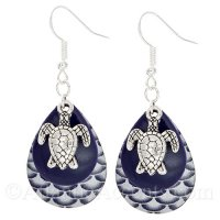 Sea Turtle Charm on a Navy Blue & Scale Fishing Lure Dangle Earrings