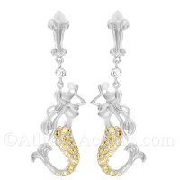 Sterling Silver Mermaid and Pearl Earrings with Yellow Crystal Tail