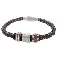 Mens Jewelry by AAGAARD Brown & Steel Braided Bracelet / Link Set - 35