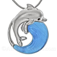 Sterling Silver Dolphin Jumping Over Blue Cateye Carved Wave Pendant
