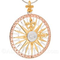 Sterling Silver 3-Tone Compass Rose Pendant