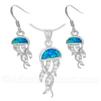 Sterling Silver Jellyfish Pendant and Earrings Set with Opal and CZ