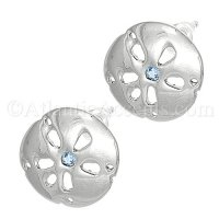 Sterling Silver Sand Dollar Post Earrings With Blue Topaz Stone