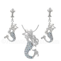 Mermaid Necklace - Pendant and Earrings Set with Blue Crystal Tail