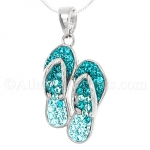 Sterling Silver Pair of Flip Flops Pendant with Swarovski Crystals