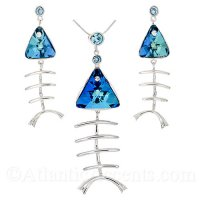 Sterling Silver Fishbone Necklace & Earrings Set with Blue Swarovski