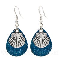 Scallop Shell Charm on a Blue Sparkle Fishing Lure Dangle Earrings
