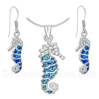 Sterling Silver Sea Horse Necklace & Earrings Set with Opal Inlay