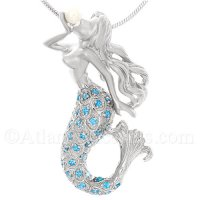 Sterling Silver Mermaid Pendant Holding Pearl with Blue Crystal Tail